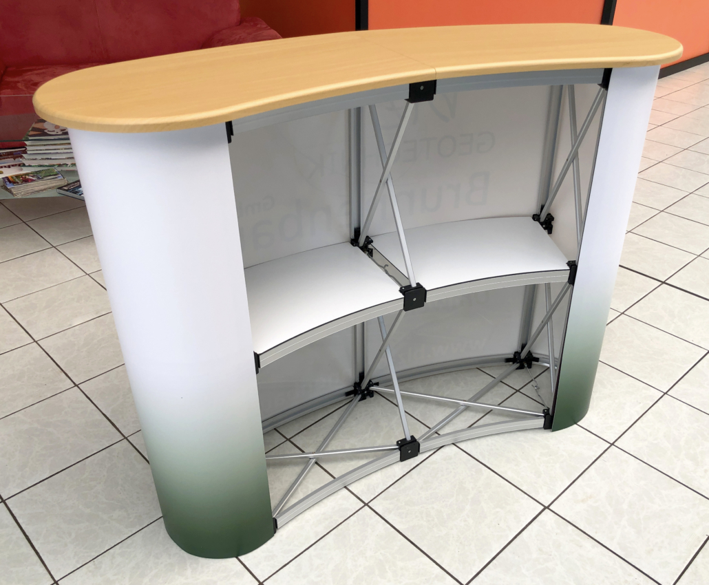 Messetisch mit Druck und Tischplatte