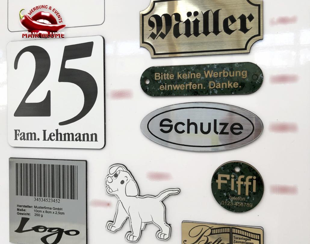 Türschilder, Namenschilder, Typenschilder, Hausnummern, Briefkastenschilder
